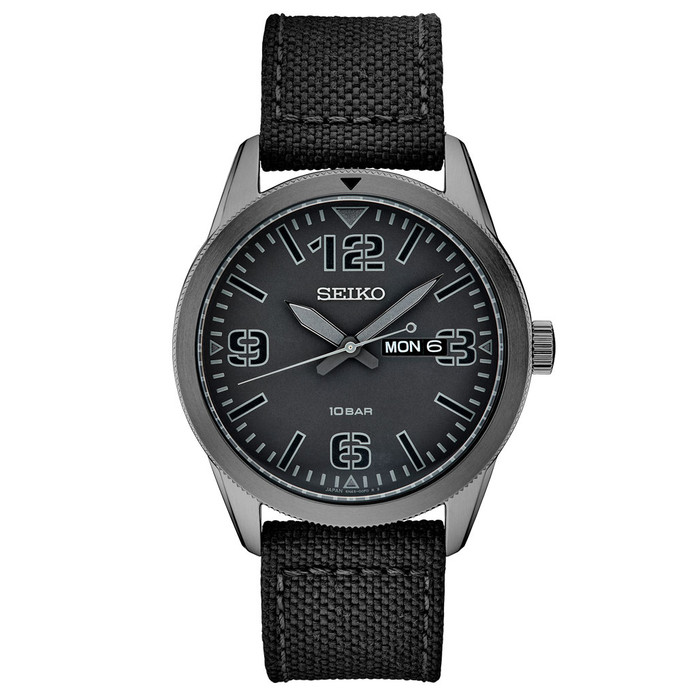 Seiko 43mm Quartz watch with a black pilot-style dial with a day and date window #SUR495