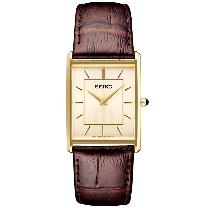 Seiko Classic Thin Quartz Dress Watch with Goldtone Stainless Steel Case #SWR064