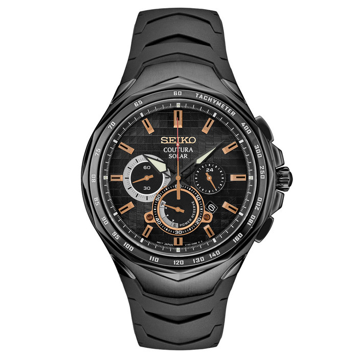 Seiko Coutura Solar Powered Chronograph with PVD Case, Sapphire Crystal #SSC811