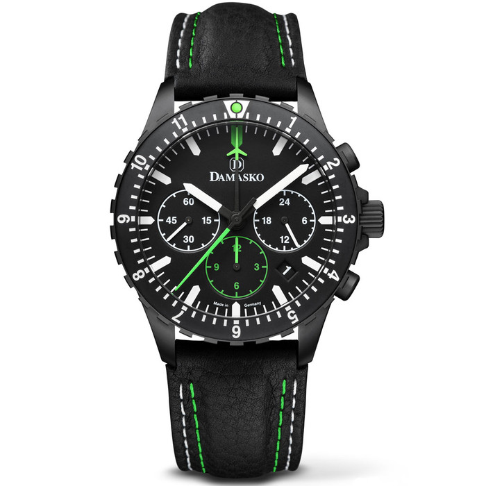 Damasko Black 42mm Chronograph with a Stopwatch and a 12-hour Totalizer #DC86
