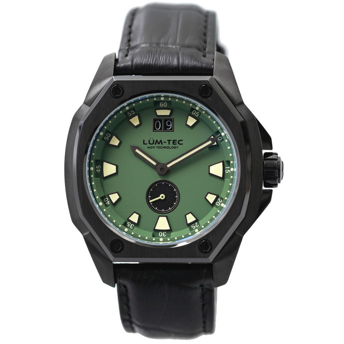 Lum-Tec 44mm Watch with Green Dial, Big-Date, and Anti-Reflective Sapphire Crystal #V-9