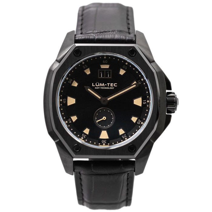 Lum-Tec 44mm Phantom Watch with Black Dial, Big-Date, and Anti-Reflective Sapphire Crystal #V-11