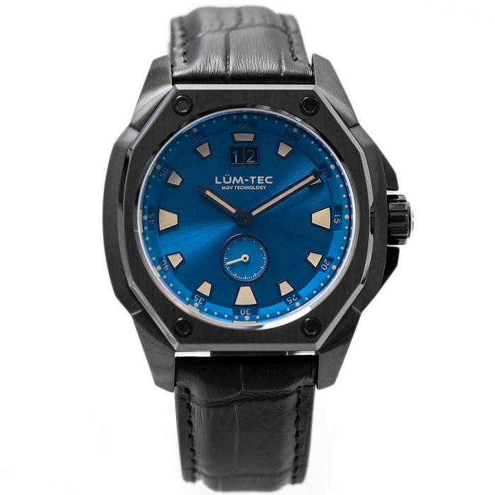 Lum-Tec 44mm Phantom Watch with Blue Dial, Big-Date, and Anti-Reflective Sapphire Crystal #V-12
