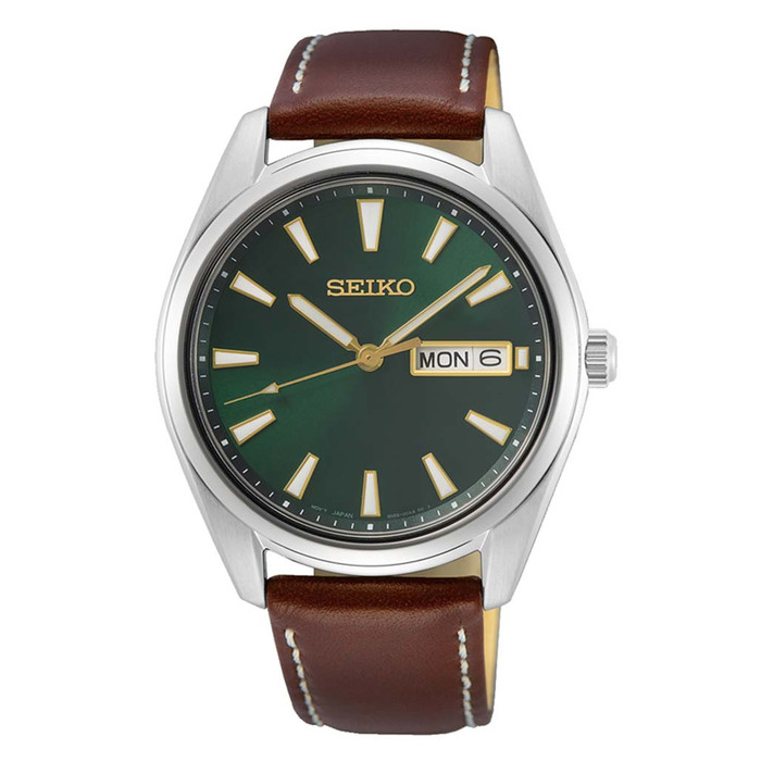 Seiko 40mm Day-Date Quartz Watch with Vibrant Green Dial SUR449