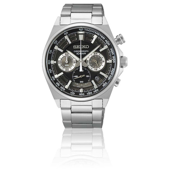Seiko Quartz Chronograph with 60-minute timer, stop-watch style pusher and a 24-hour sub-dial  #SSB397