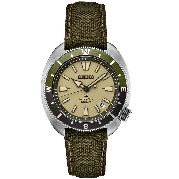 Seiko Prospex Automatic Dive Watch with Beige Dial and Olive Canvas Strap #SRPG13