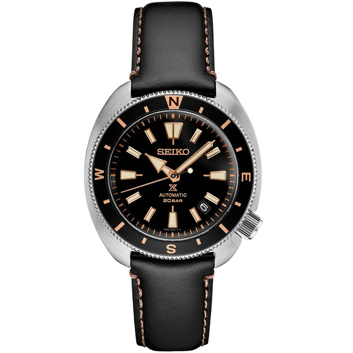 Seiko Prospex Automatic Dive Watch with Black Dial and Black Leather Strap #SRPG17