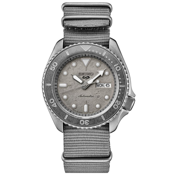 Seiko 5 Sports 24-Jewel Automatic Watch with Grey Distressed Dial and Stone Washed Case #SRPG61
