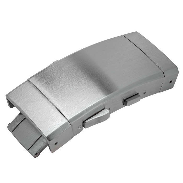 Stainless Steel two-button ratcheting clasp with six positions, brushed #CLASP-03