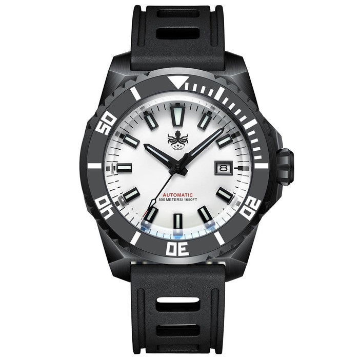 PHOIBOS Leviathan 500-Meter Automatic Dive Watch with Black DLC Case, AR Sapphire Crystal #PY032D
