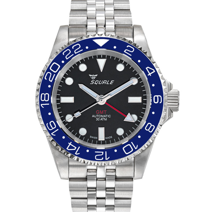 Squale 300 meter Swiss Automatic GMT watch with Luminous Ceramic Bezel, AR Sapphire Crystal #1545GM-CER-BLU