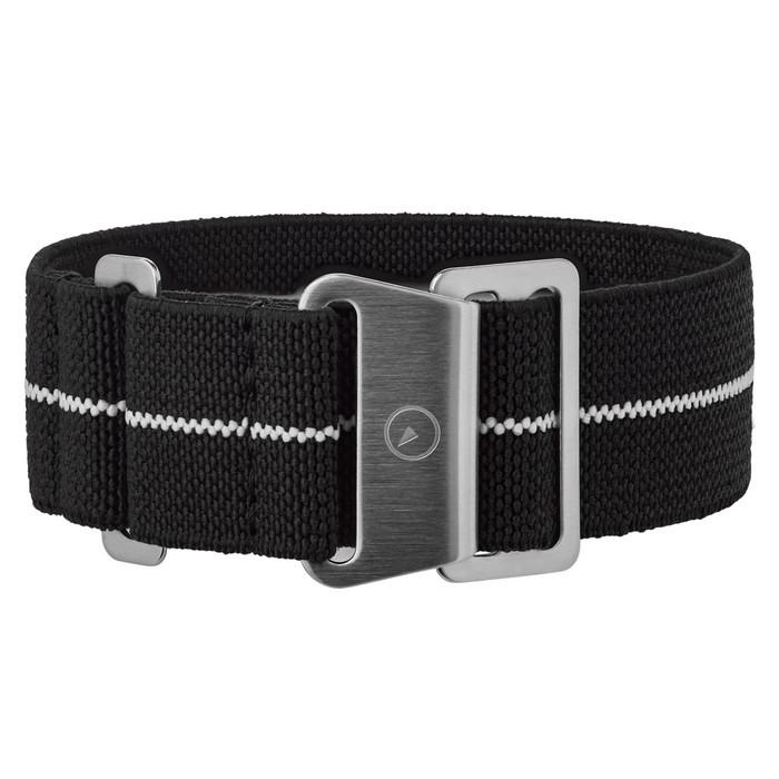 Black, White Stripe Elastic Woven Nylon Strap, Brushed Steel Clasp #EWB-20-SS