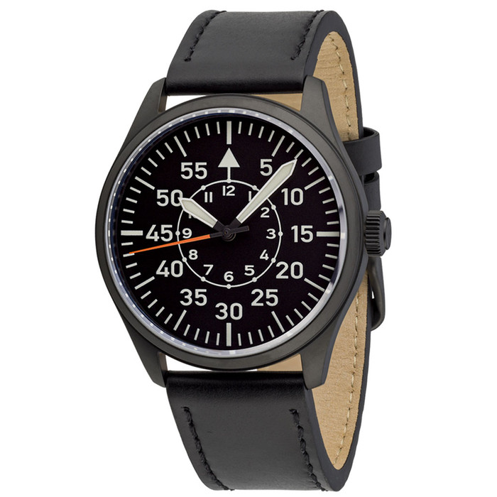 Islander Black DLC Aviator Automatic Watch with Leather Strap and an Anti-Reflective Sapphire Crystal #ISL-81