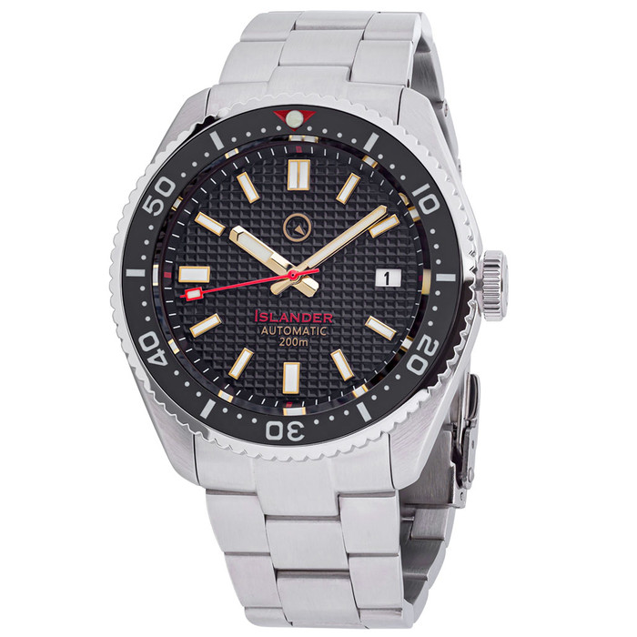 Islander Black Waffle Dial Automatic Dive Watch with Flat AR Sapphire Crystal, Luminous Ceramic Bezel Insert #ISL-88