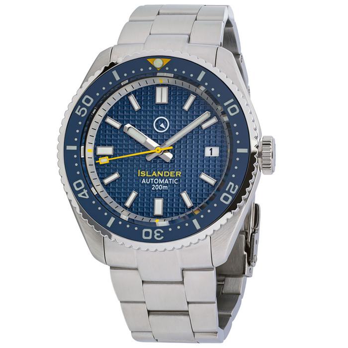 Islander Blue Waffle Dial Automatic Dive Watch with Flat AR Sapphire Crystal, Luminous Ceramic Bezel Insert #ISL-89