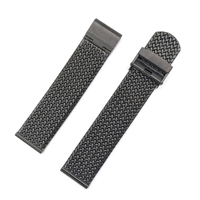 Staib 20mm Polonaise IP Black Stainless Steel Mesh Bracelet, Straight End #ST-BK-2910-20818SBL