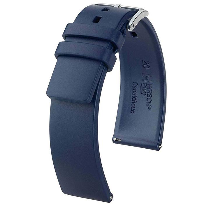 Hirsch Pure Blue Premium Caoutchouc Natural Rubber Watch Strap #405388-80