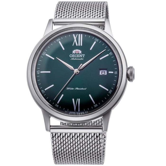 Orient Automatic Dress Watch with Green Dial and Mesh Bracelet #RA-AC0018E10B