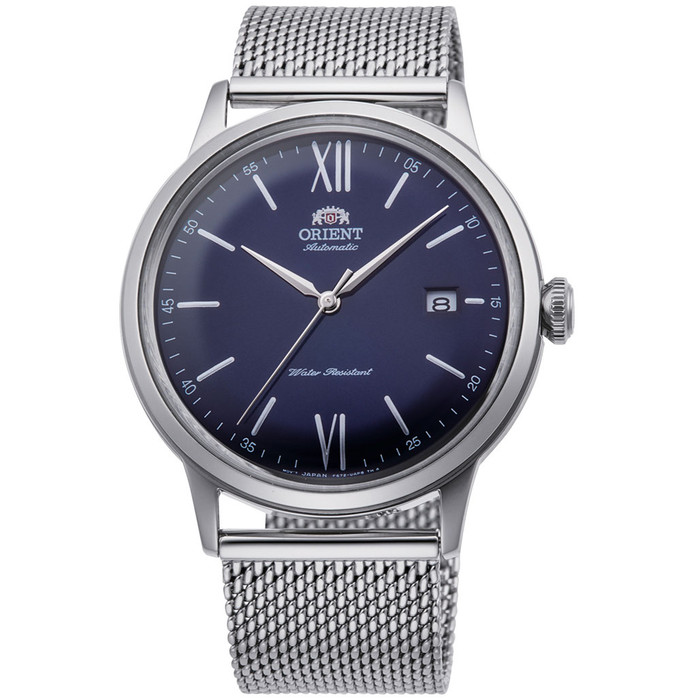 Orient Automatic Dress Watch with Blue Dial and Mesh Bracelet #RA-AC0019L10B