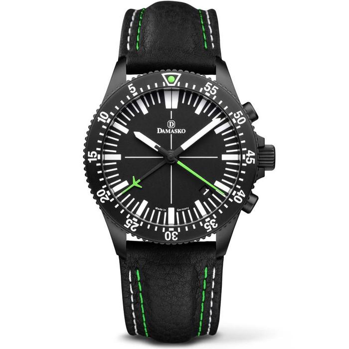Damasko Black DLC 42mm Chronograph, Green, with 60-Minute Stopwatch #DC82