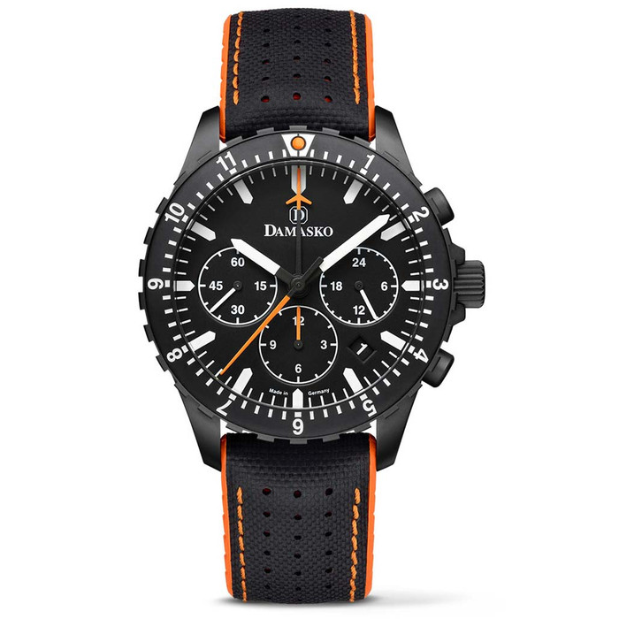 Damasko Black DLC 42mm Chronograph with a Stopwatch and a 12-hour Totalizer #DC86