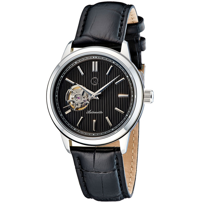 Islander Automatic Open-Heart Watch with Pinstripe Dial, AR Sapphire Crystal #ISL-98