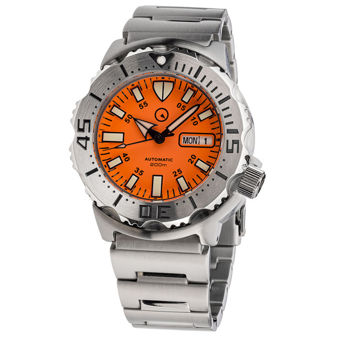 Islander Orange Dial Automatic Dive Watch with AR Double Dome Sapphire Crystal, and 120-click Bezel #ISL-94