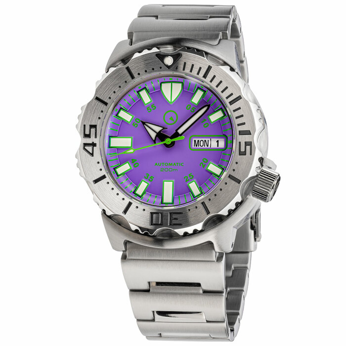 Islander Purple Dial Automatic Dive Watch with AR Double Dome Sapphire Crystal, and 120-click Bezel #ISL-95