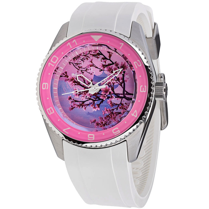 Islander 38mm Automatic Cherry Blossom Watch with White Rubber Strap, AR Sapphire Crystal, and Sapphire Bezel Insert #ISL-93