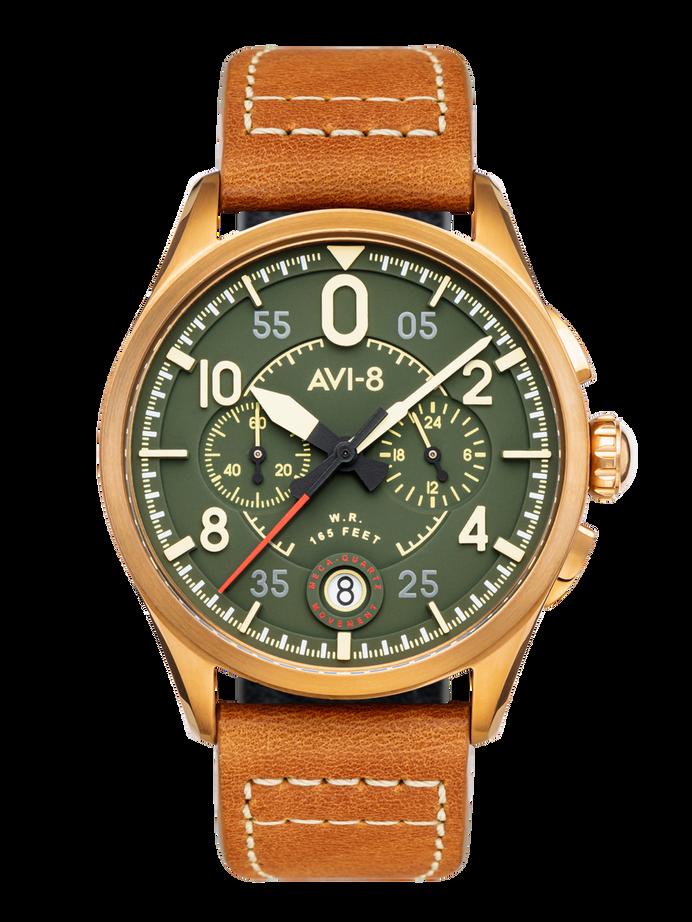 AVI-8 Spitfire Lock Chronograph, Bronze Green, Japanese Meca-Quartz Chronograph, Green Dial, Leather Strap #AV-4089-02