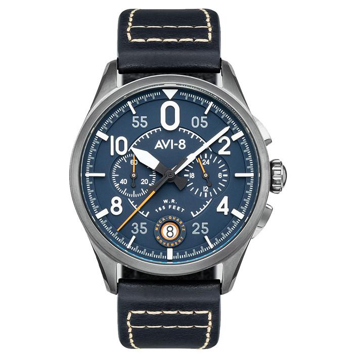 AVI-8 Spitfire Lock Japanese Meca-Quartz Chronograph, Blue Dial, Leather Strap #AV-4089-04