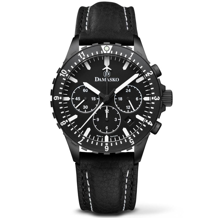 Damasko Black 42mm Chronograph with a Stopwatch plus 12-hour Totalizer #DC86