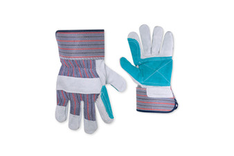 Work Gloves with Double Leather Palm and Safety Cuff