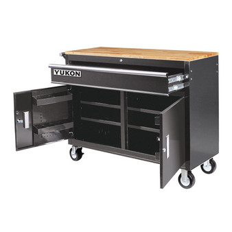 """Yukon 46"""" 1-Drawer Mobile Workbench With Solid Wood Top"""