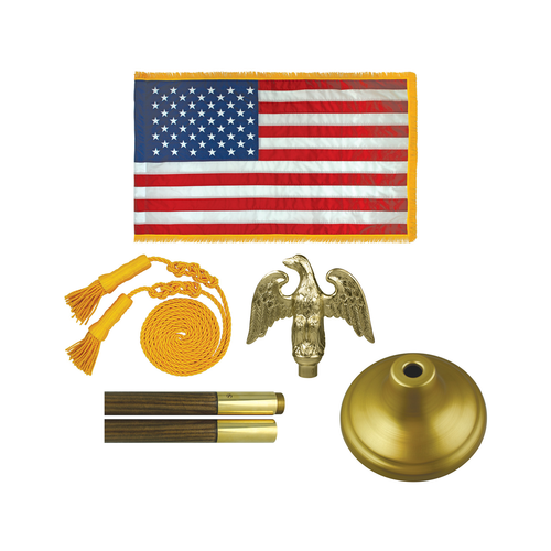 Deluxe Flag Sets with perched Eagle & Oak Pole