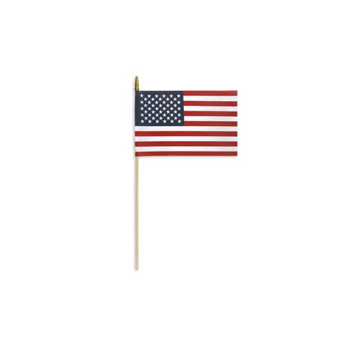 "Mounted 4"" x 6"" USA Flag - Cotton"