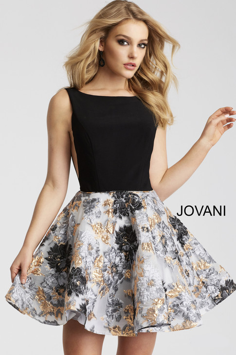 Jovani 55512 short cocktail homecoming dress with an open back and floral flared skirt.