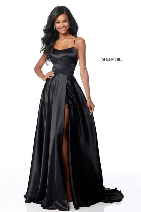 Sherri Hill 51631 Satin Dress with Sexy Leg Slit