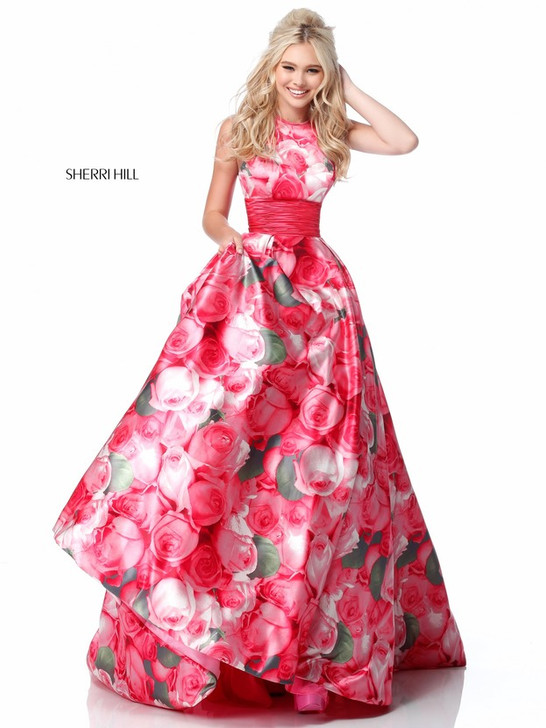 Sherri Hill 51800 Floral Print Ballgown Dress