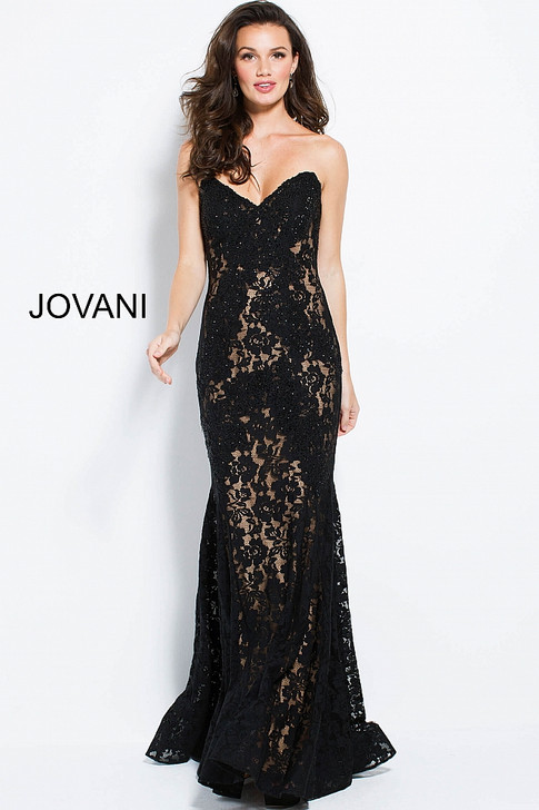 Jovani 37334 Beaded Lace Dress