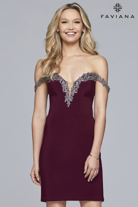 Faviana S10152 Short Off-the-Shoulder Jersey Dress