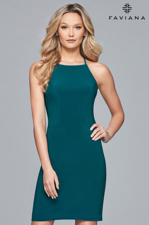 Faviana S10166 Simple Short Halter Dress