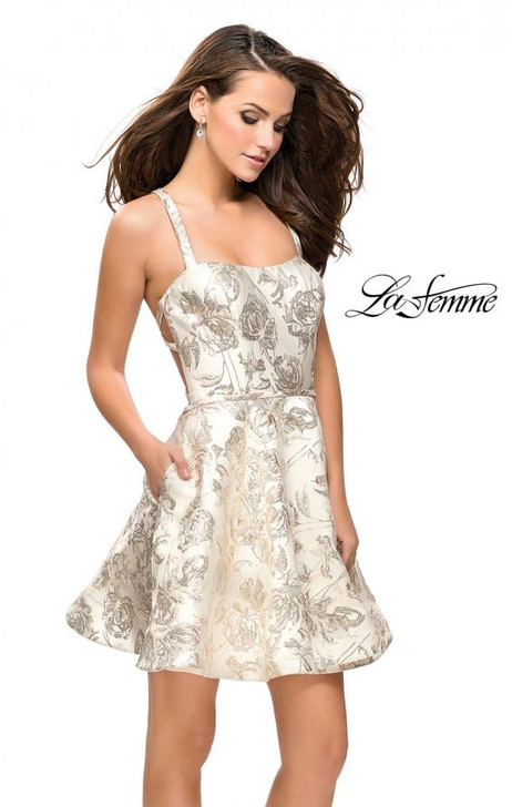 La Femme 26656 Metallic Floral Dress