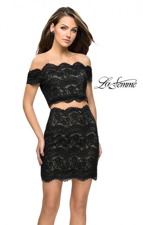 La Femme 26666 Two Piece Lace Dress