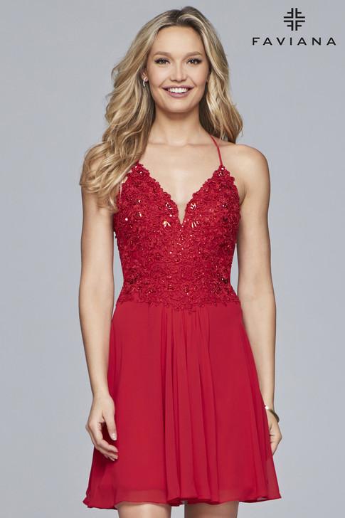 Faviana 10151 Short Chiffon Prom Dress