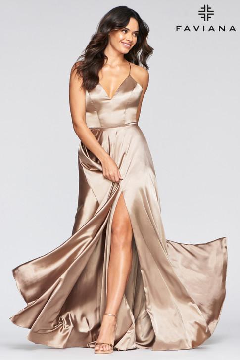 Faviana S10209 Flowy Satin Dress
