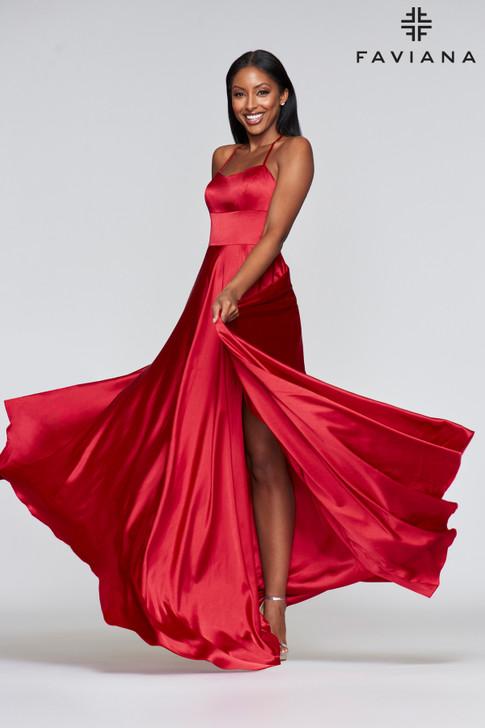 Faviana S10211 Flowy Satin Dress