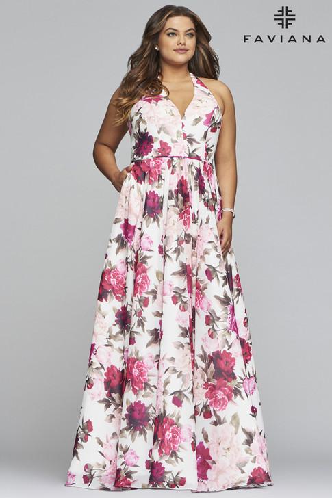 Faviana 9468 Floral Print Plus Size Dress