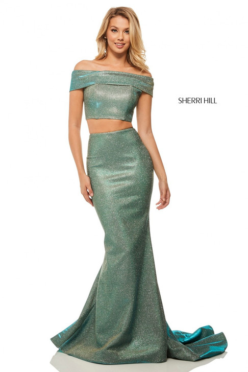 Sherri Hill 52757 Two Piece Off Shoulder Dress