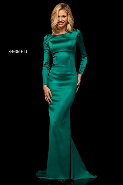Sherri Hill 52794 Long Sleeve Satin Dress